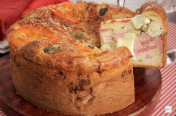 Torta-pizza de presunto e calabresa