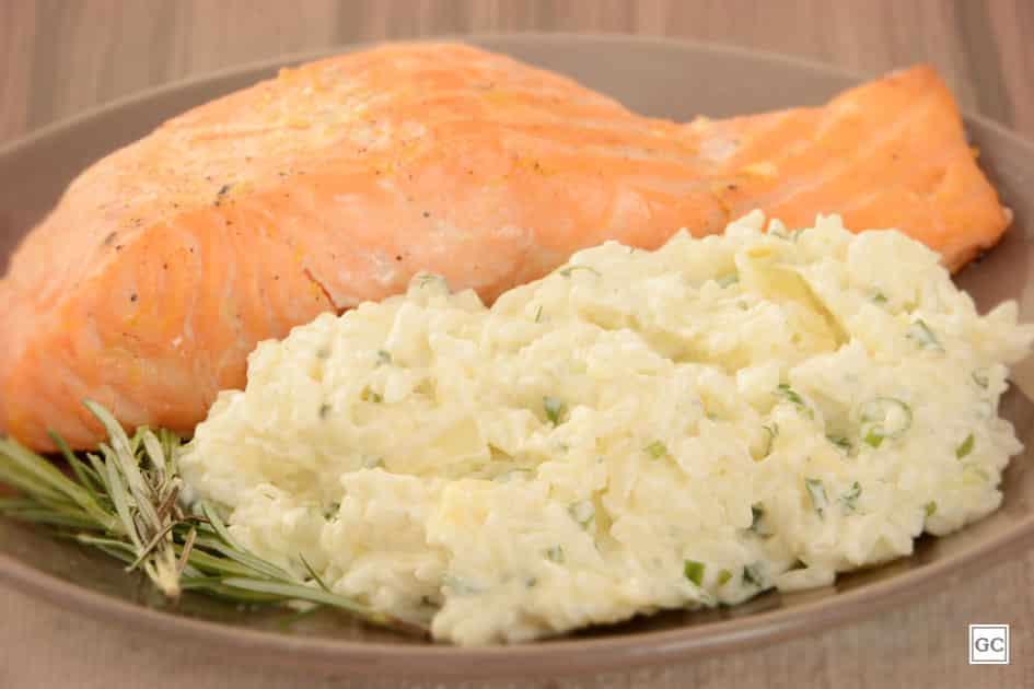 Arroz cremoso com salmão