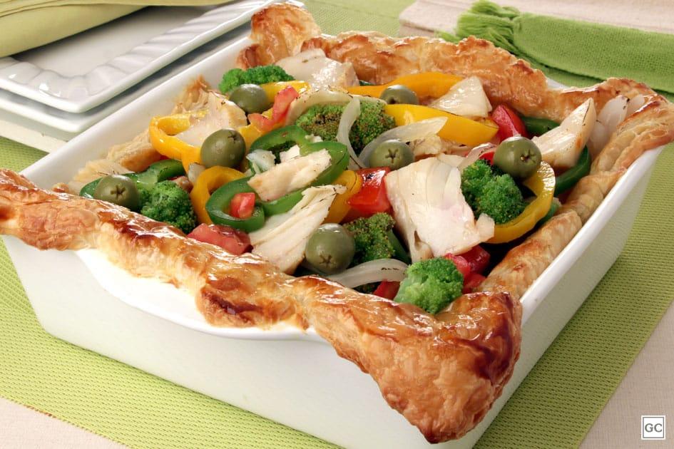 Bacalhau especial com legumes