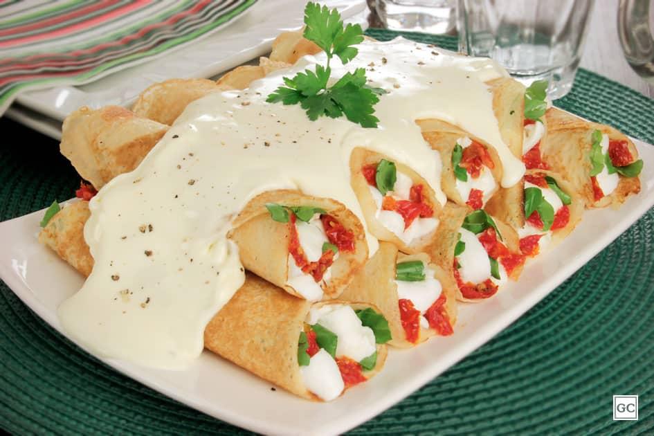 almoço de domingo - panqueca de rúcula com tomate seco