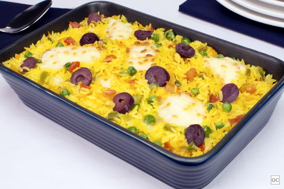 almoço de domingo - arroz de forno com legumes e catupiry