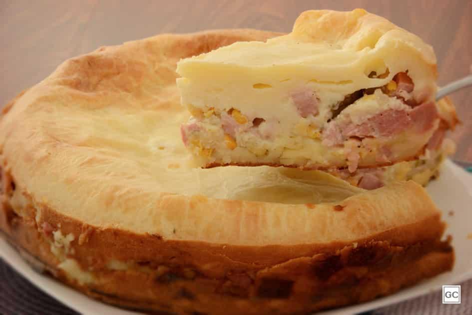 receitas de torta de liquidificador - torta-pão de queijo com frios