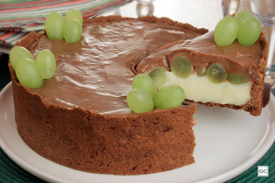 sobremesas para o Dia das Mães - torta de uva dois chocolates