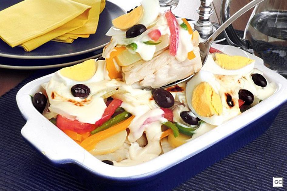 Bacalhoada cremosa com legumes